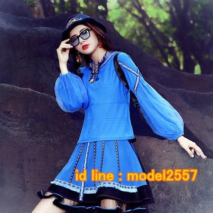 UM6102010 เสื้อยืดแขนยาวโมฮีเมียนสีฟ้า เย็บปักถักร้อยชาติพันธุ์