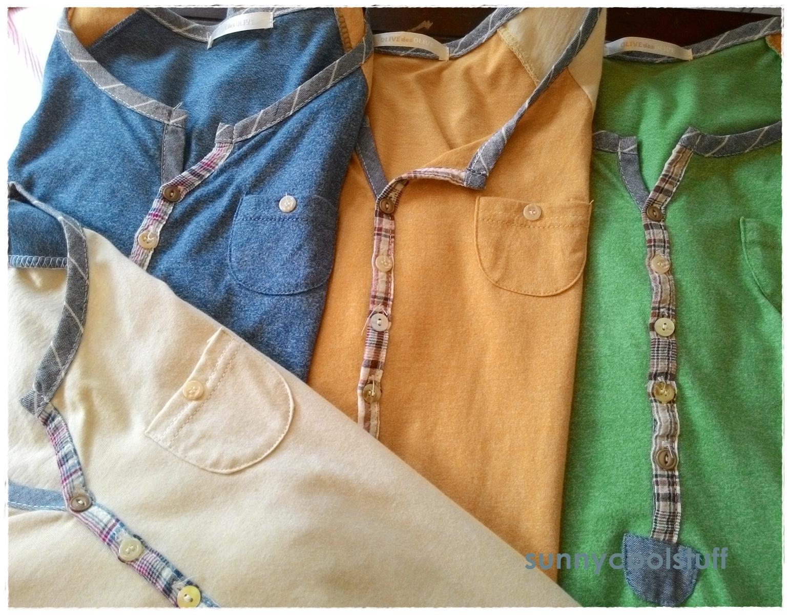 เสื้อยืดตัวยาว เนื้อผ้ายืดบางนิ่ม แต่งสลับสีผ้าที่แขนเสื้อ**สีเหลือง**
