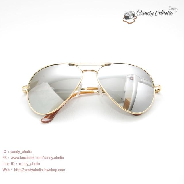 แว่นตากันแดดแฟชั่น สีปรอท กรอบใหญ่