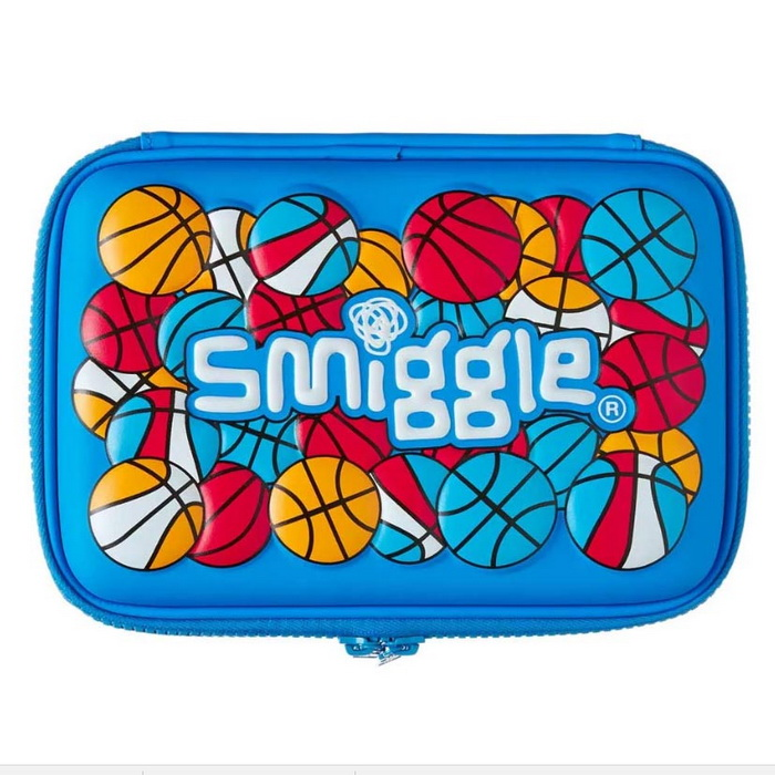 SMP088 กล่องดินสอ smiggle 2 ชั้น Funk Ball Mild Blue Double Hardtop