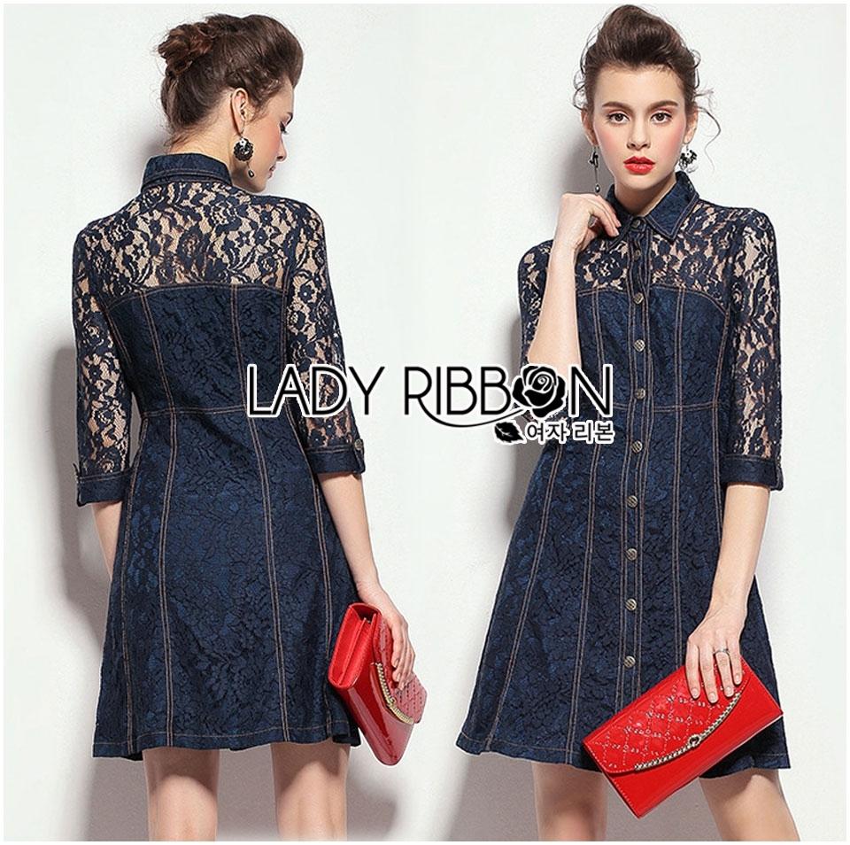 Lady Kim Sexy Elegant Lace and Denim Shirt Dress L199-79C04