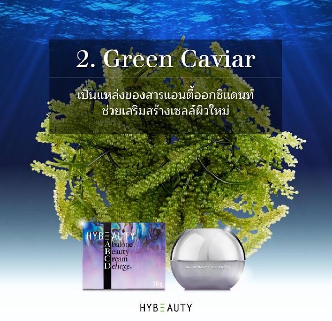 HYBEAUTY ABALONE CREAM DELUXE มีสารสำคัญอะไรบ้าง Green Caviar
