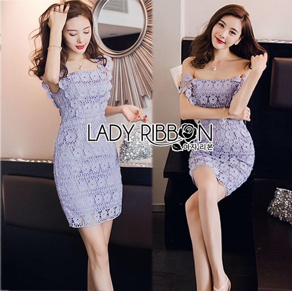 Lady Felicia Sexy Feminine Off-Shoulder Lilac Lace Dress L271-7909