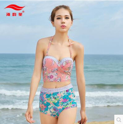 SM-V1-341 ชุดว่ายน้ำเอวสูง สีชมพู ลายดอกไม้สวยๆ