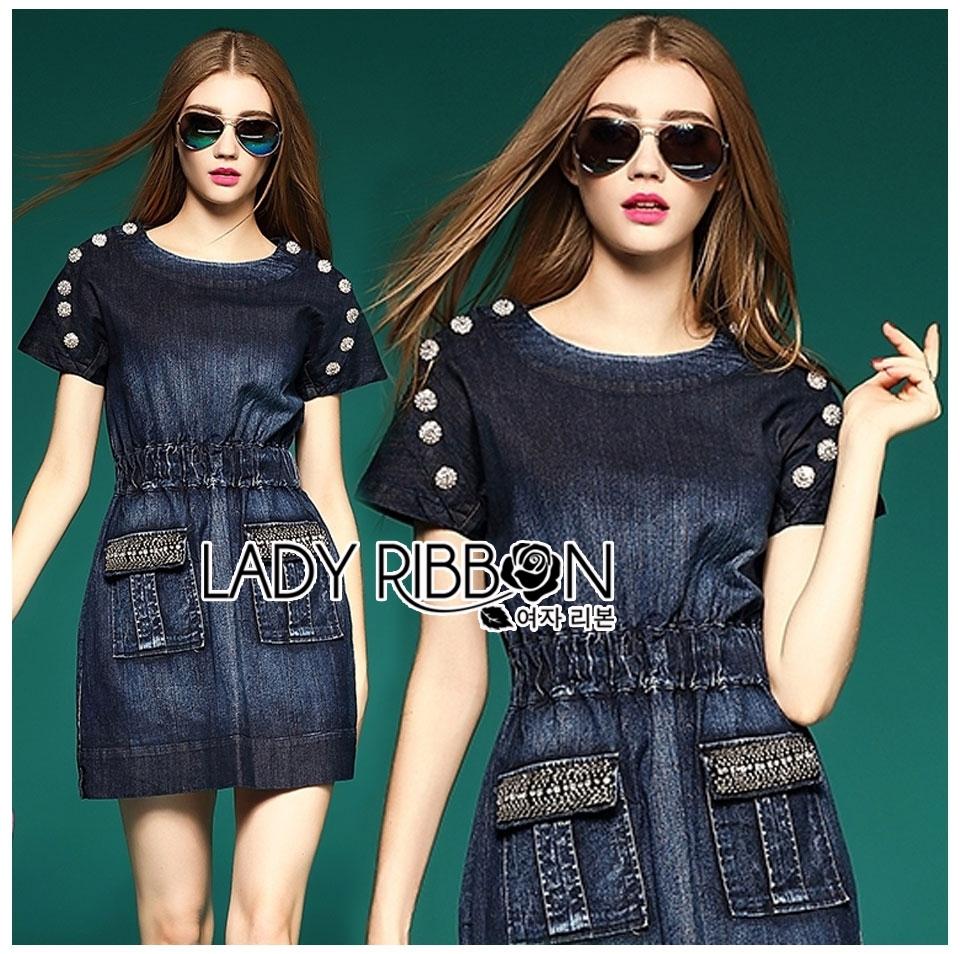 Lady Jeanne Rock Chic Studded Dark Denim Mini Dress L218-85E01