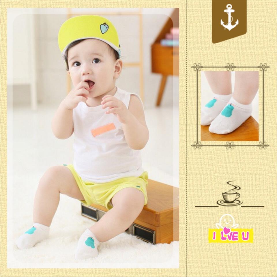 SK018••ถุงเท้าเด็ก•• ลูกแพร์ (สีเขียว-ข้อสั้น)