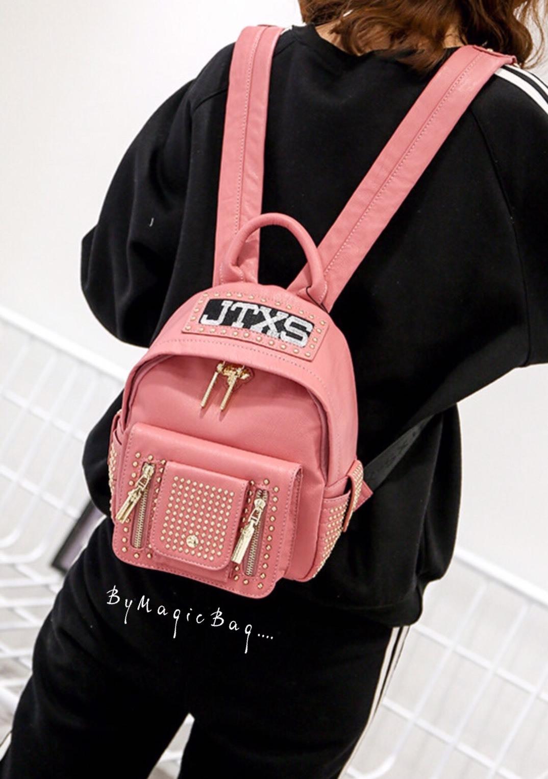 กระเป๋าเป้ Size M สีชมพู JTXS Backpack bag D.I.Y Denim Jeans spring summer high quality mead in Hong Kong 2017...งานแท้นะคะ