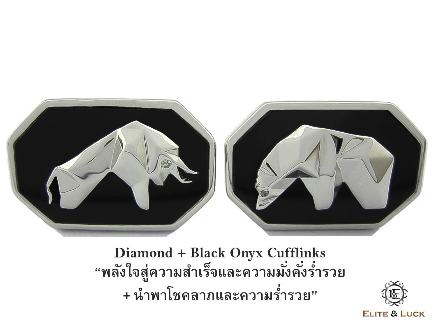 Diamond + Black Onyx Sterling Silver Cufflinks สี Rhodium รุ่น Bull & Bear