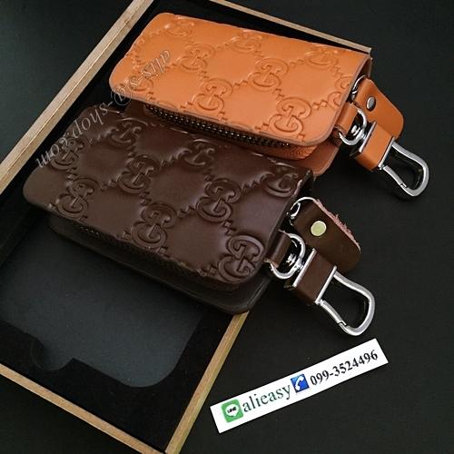 กระเป๋าซองหนังแท้ ใส่กุญแจรีโมทรถยนต์ รุ่นซิบรอบ พิมพ์ลาย Gucci