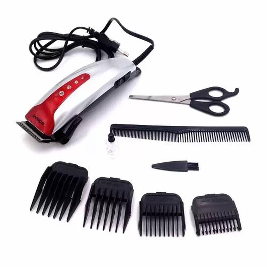 [SONAR V.3] แบตเตอเลี่ยนตัดผมชายสีเงิน ปัตตาเลี่ยนมีสาย แบตตาเลี่ยนตัดผมเด็ก ชุดแบตเตอเลี่ยนตัดผมเด็กและผู้ใหญ่พร้อมหวีรองปัตตาเลี่ยน SILVER Professional Electric Hair Clipper Set For Men & Women