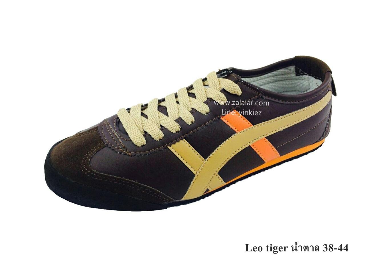 [พร้อมส่ง] รองเท้าผ้าใบแฟชั่น รุ่น Leo tiger สีน้ำตาล แบบหนัง