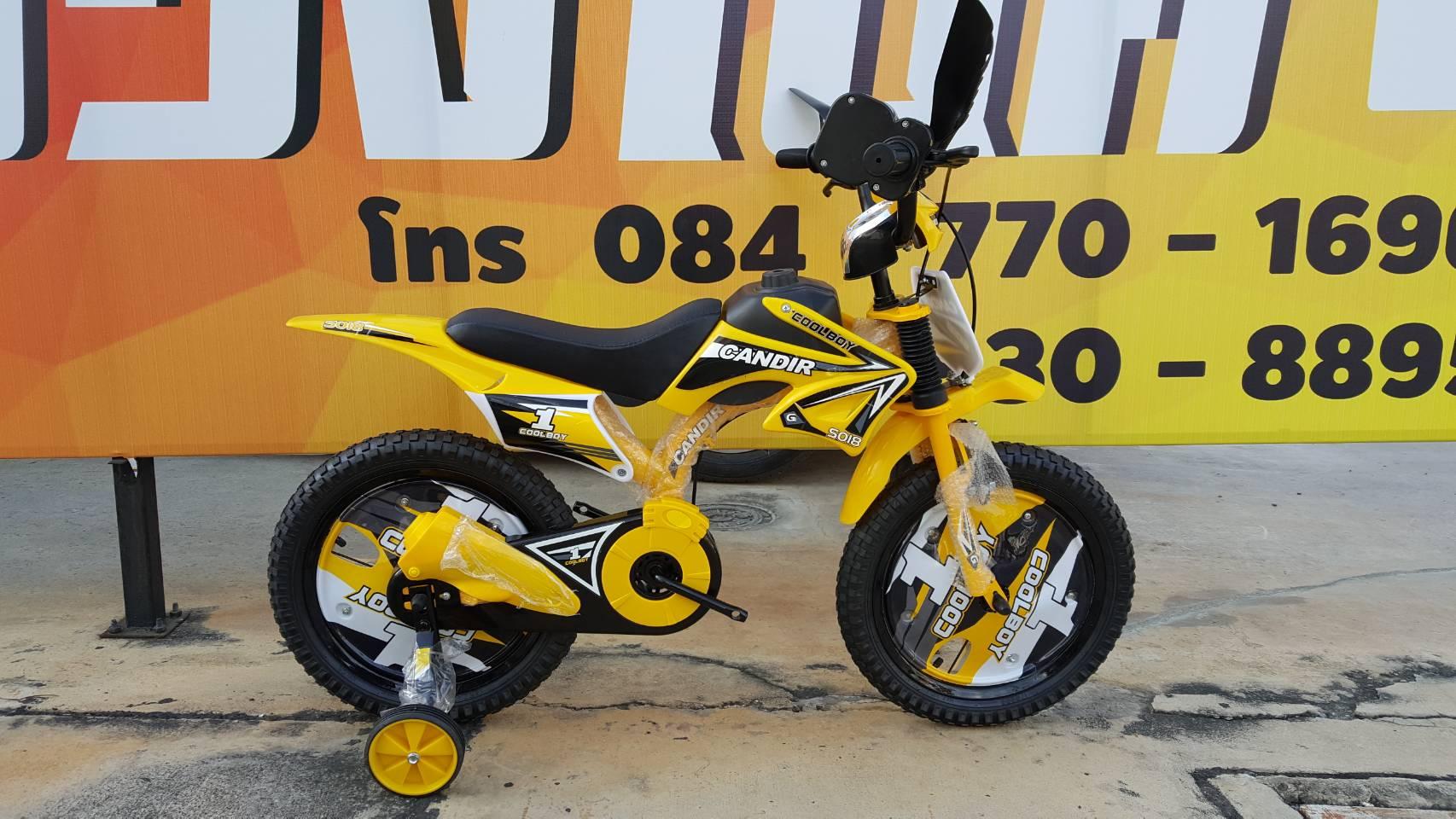 จักรยานโมโตครอส Candir สีดำเหลือง ล้อ 16 นิ้ว พร้อล้อช่วยข้าง และคันเร่งมีเสียงเหมือนมอเตอร์ไซค์