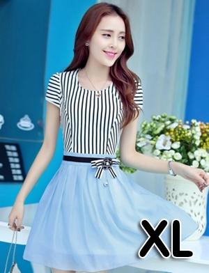 ชุดออกงานแฟชั่นเกาหลีสวยๆ มินิเดรสกระโปรงสั้น สีฟ้า สามารถใส่ไปงานแต่งงาน ทำงานออฟฟิศ จะทำให้คุณกลายเป็นสาวหวาน น่ารัก สดใส ( size XL )