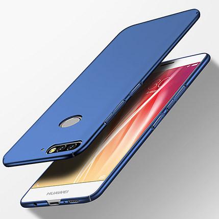 (พรีออเดอร์) เคส Huawei/Y7 Pro 2018-เคสพลาสติกแบบแข็งสีเรียบ พร้อมห่วงคล้องนิ้ว