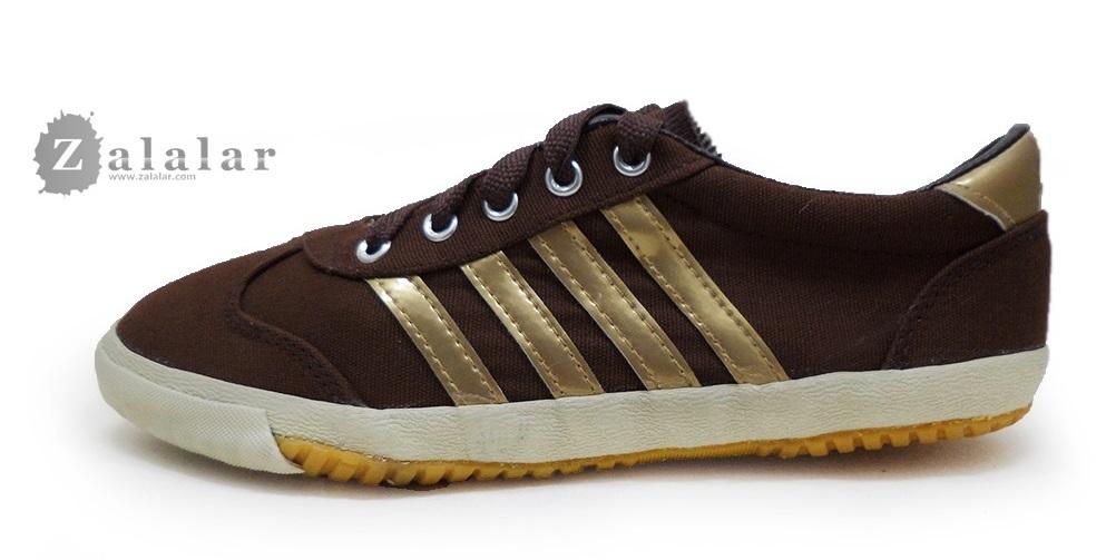 [พร้อมส่ง]รองเท้าผ้าใบแฟชั่น สีน้ำตาล-ทอง รุ่น AC