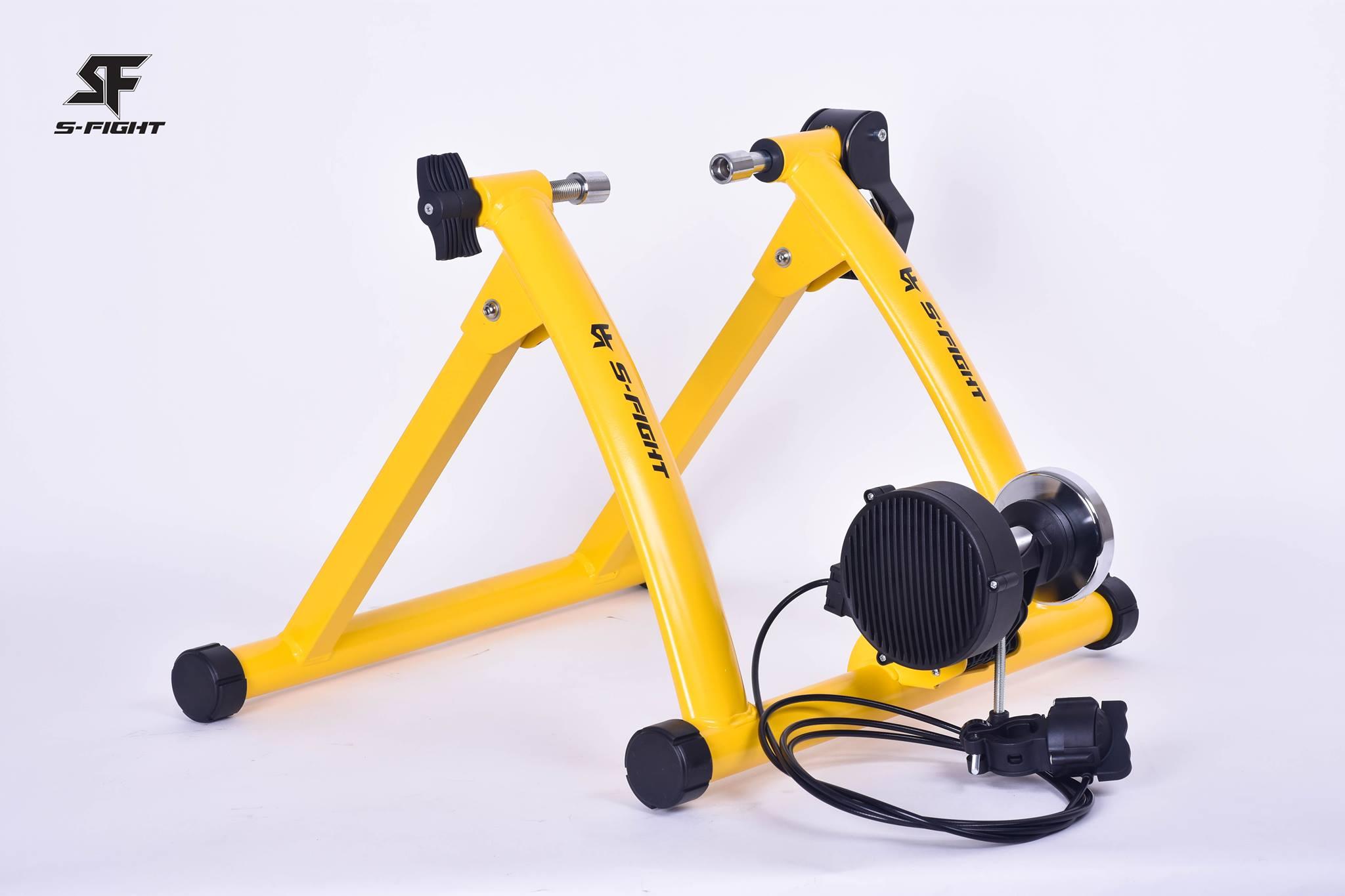 เทรนเนอร์จักรยาน S-Fight 2018 สีเหลือง พร้อมรีโมทปรับระดับความหนืดได้ ถาดรองล้อและแกนปลดเร็ว
