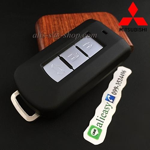 กรอบ-เคส ใส่กุญแจรีโมทรถยนต์ Mitsubishi Mirage,Attrage,Triton,Pajero ABS Smart Key 2,3 ปุ่ม สีดำด้าน