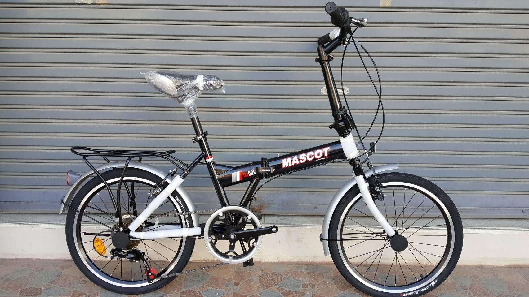 จักรยานพับ Mascot รุ่น QJ009 2018 ล้อขนาด 20 นิ้ว เฟรมเหล็ก Hi-Tensile สีดำ เกียร์ Shimano 6 Speed