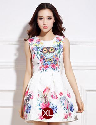 ชุดเดรสสั้นสีขาวลายดอกไม้สีสันสดใส แขนกุด เอวเข้ารูป สวยหวานสไตล์เกาหลี ไซส์ XL