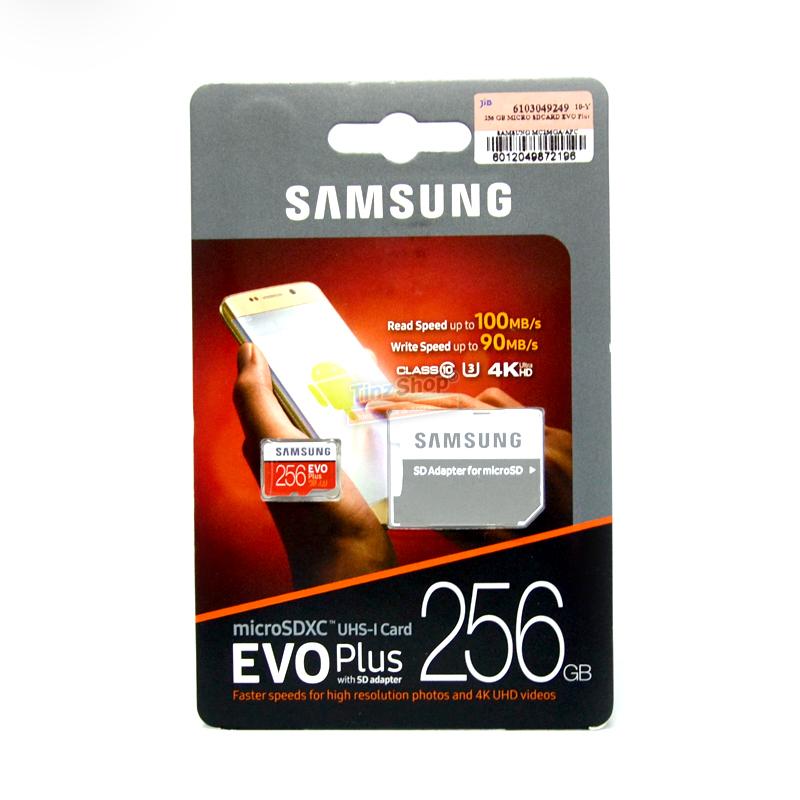เมมโมรี่ไมโครเอสดีการ์ด ++ 256 GB Micro-SD Samsung Evo Plus (Class10) ราคา 3990.-