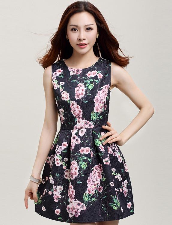ชุดเดรสทำงานแฟชั่นสไตล์เกาหลีสวยๆ ชุดแซกกระโปรงใส่ทำงาน สีดำ พิมพ์ลายดอกซากุระ ผ้าคอลตอลอัดลายดอกไม้ ซิปหลัง