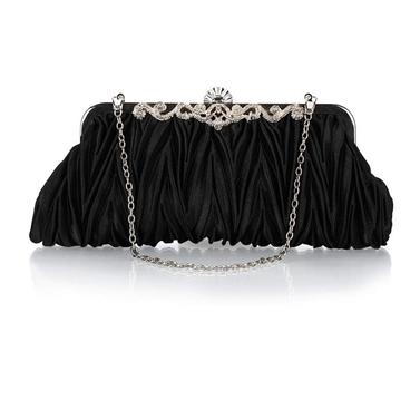 กระเป๋าถือออกงานสีดำ ทรงรี จับจีบ น่ารัก