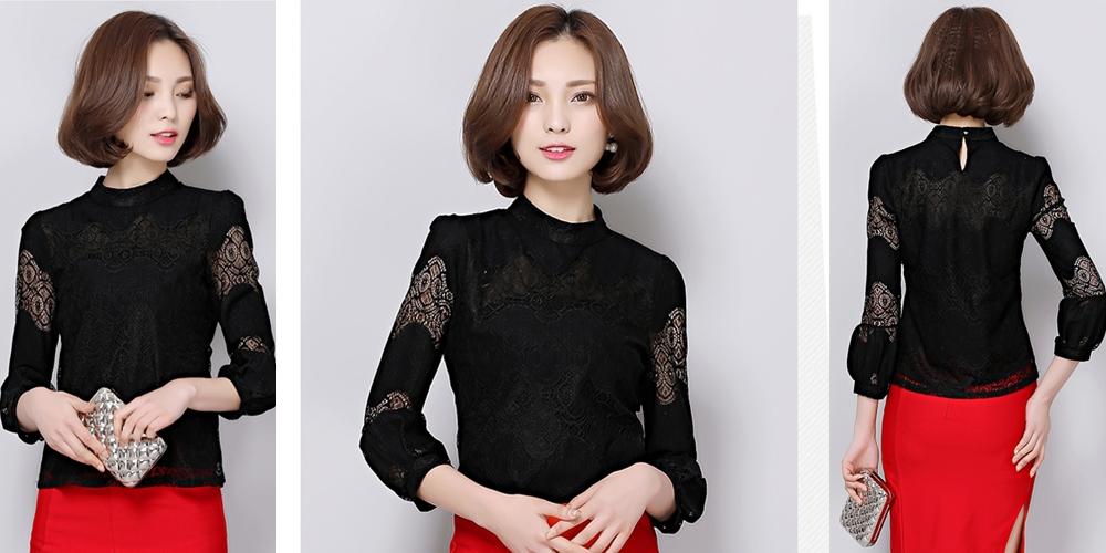เสื้อลูกไม้สีดำ แขนยาว แนวสวยหวาน เรียบร้อย ดูดี น่ารัก