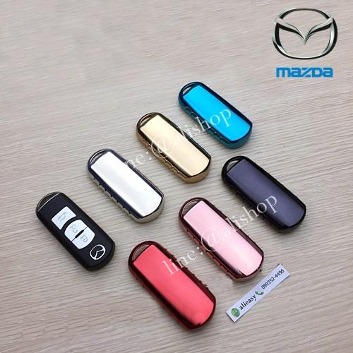 กรอบ-เคสยาง TPU ใส่กุญแจรีโมทรถยนต์ Mazda 2,3/CX 5 2018 Smart Key 3 ปุ่ม