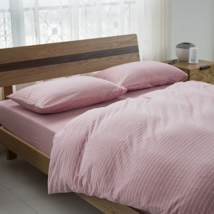 ผ้าปูที่นอน สีพื้นลายทาง เนื้อผ้าถักนิตติ้ง KnittedCotton