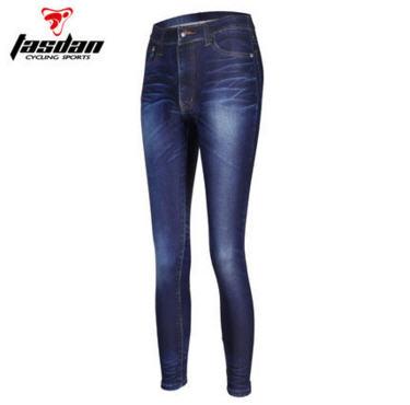 กางเกงปั่นจักรยานขายาวผู้หญิง TASDAN ลายยีนส์ สีน้ำเงิน : SWPL-4001