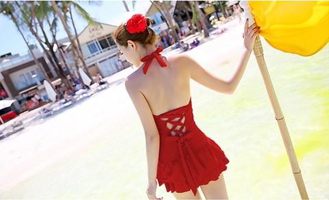 ชุดว่ายน้ำวินเทจ แบบวันพีช แบบกระโปรง ผูกหลัง ปรับสายได้ Red