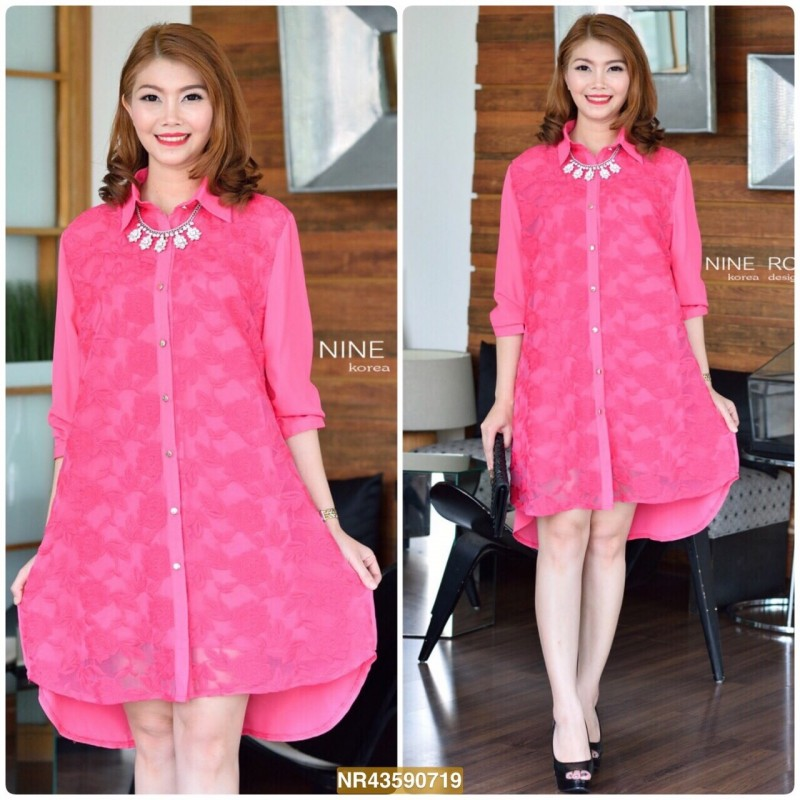 """NR719 **สีชมพูเข้ม**อก 44"""" CHANEL Rose Lace with Front"""