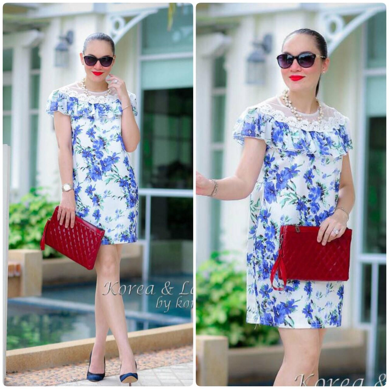 "TK0338 **พร้อมส่ง** รอบอก 38"" Dress Dior Nano & Chiffon พิมพ์ลายดอกไม้ สีฟ้า"