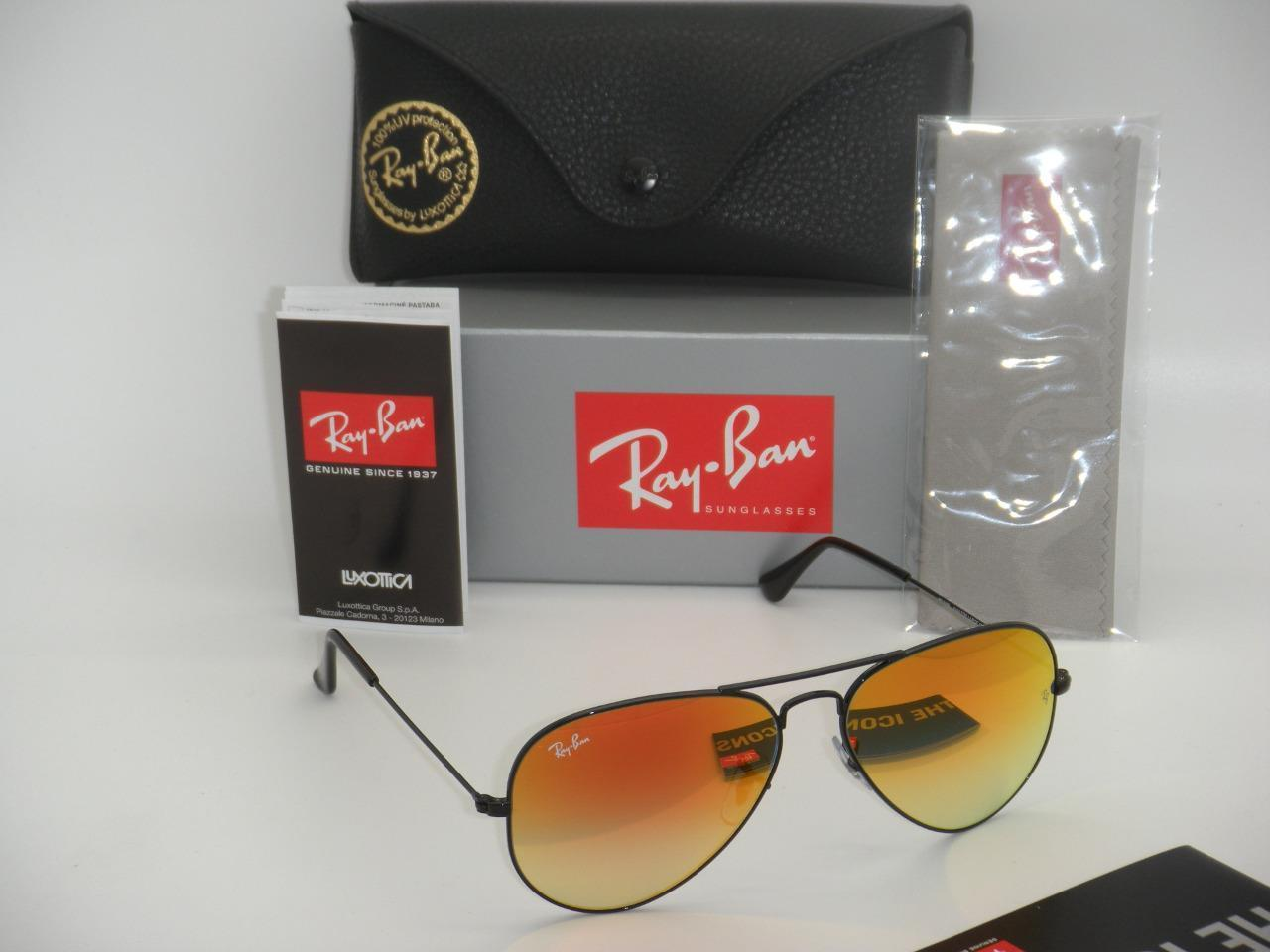 Ray Ban Aviator RB3025 002/4W 58mm Black Frame Green Gradient Mirror