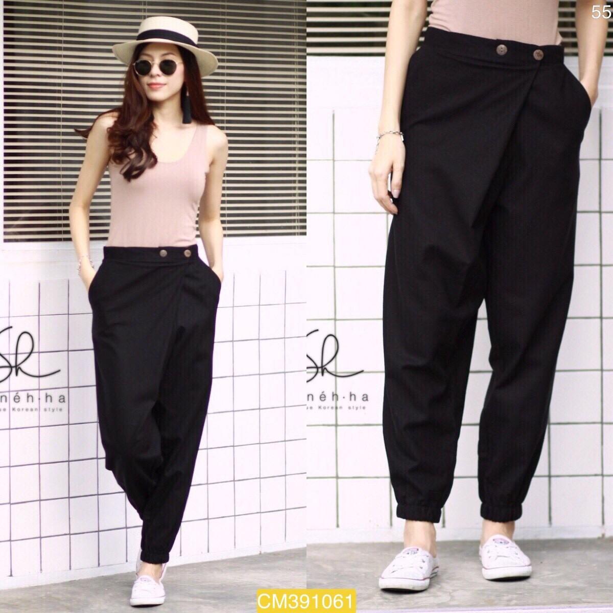 """CM1061 *สีดำ* เอว30-35"""" กางเกงผ้าฝ้ายรุ่นขายดี แนววินเทจ"""