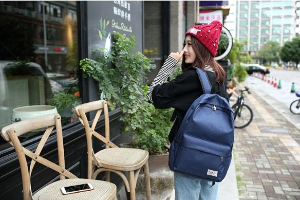 Solid shoulder female bag (สีกรม)