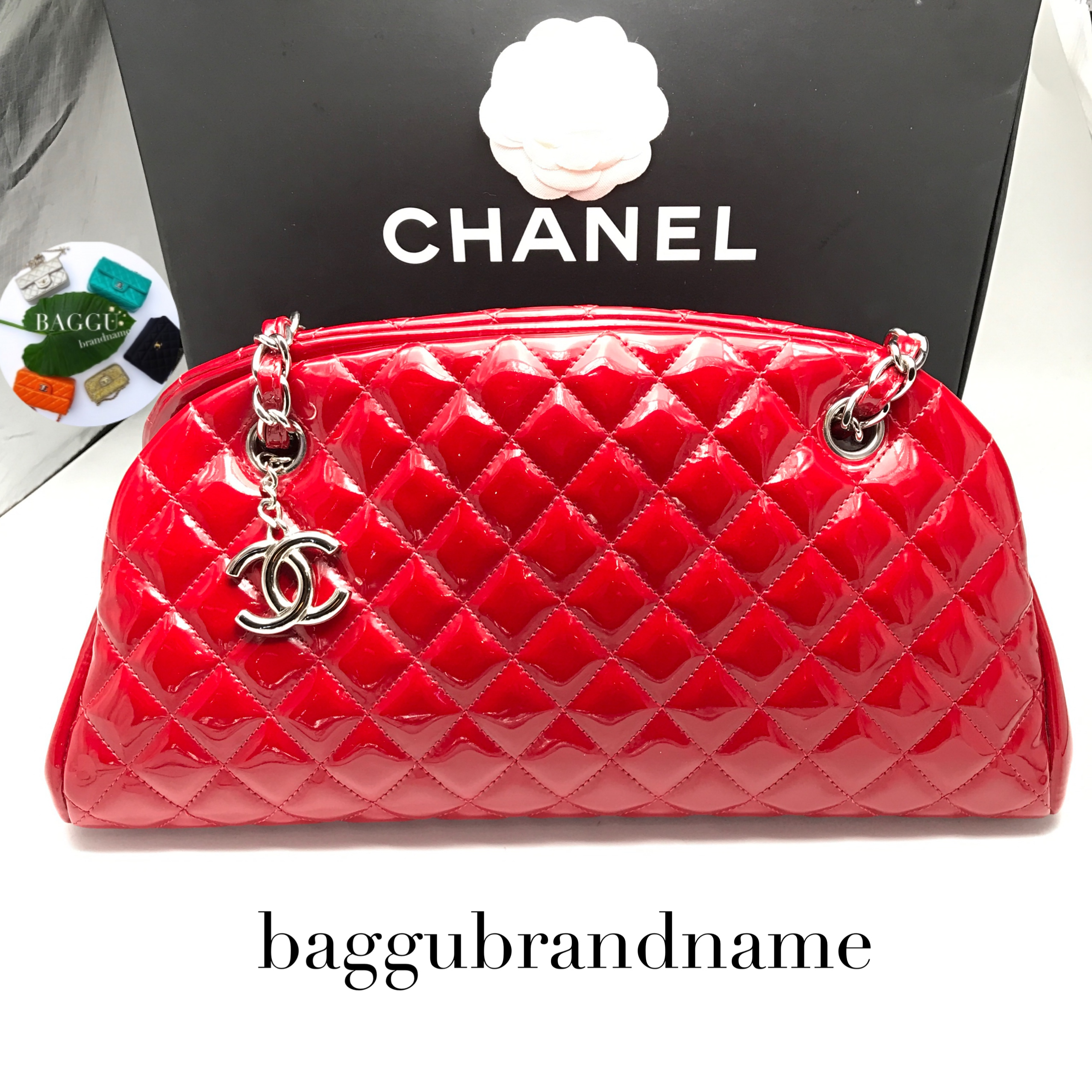 CHANEL mademoiselle red patent
