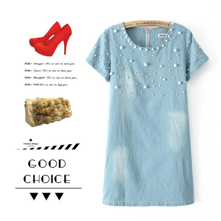 **พรีออเดอร์** ชุดเดรสยีนส์ผู้หญิงแฟชั่นยุโรปใหม่ แขนสั้น ปักลูกปัด แบบเก๋ เท่ห์ / **Preorder** New European Fashion Bead Short-Sleeved Denim Dress