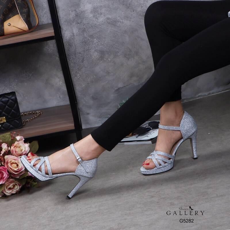 รองเท้าแฟชั่น ส้นสูง รัดส้น หนังกลิสเตอร์วิ้งสวยหรู ทรงสวย หนังนิ่ม ใส่สบาย ส้นสูงประมาณ 3.5 นิ้ว แมทสวยได้ทุกชุด (G5282)