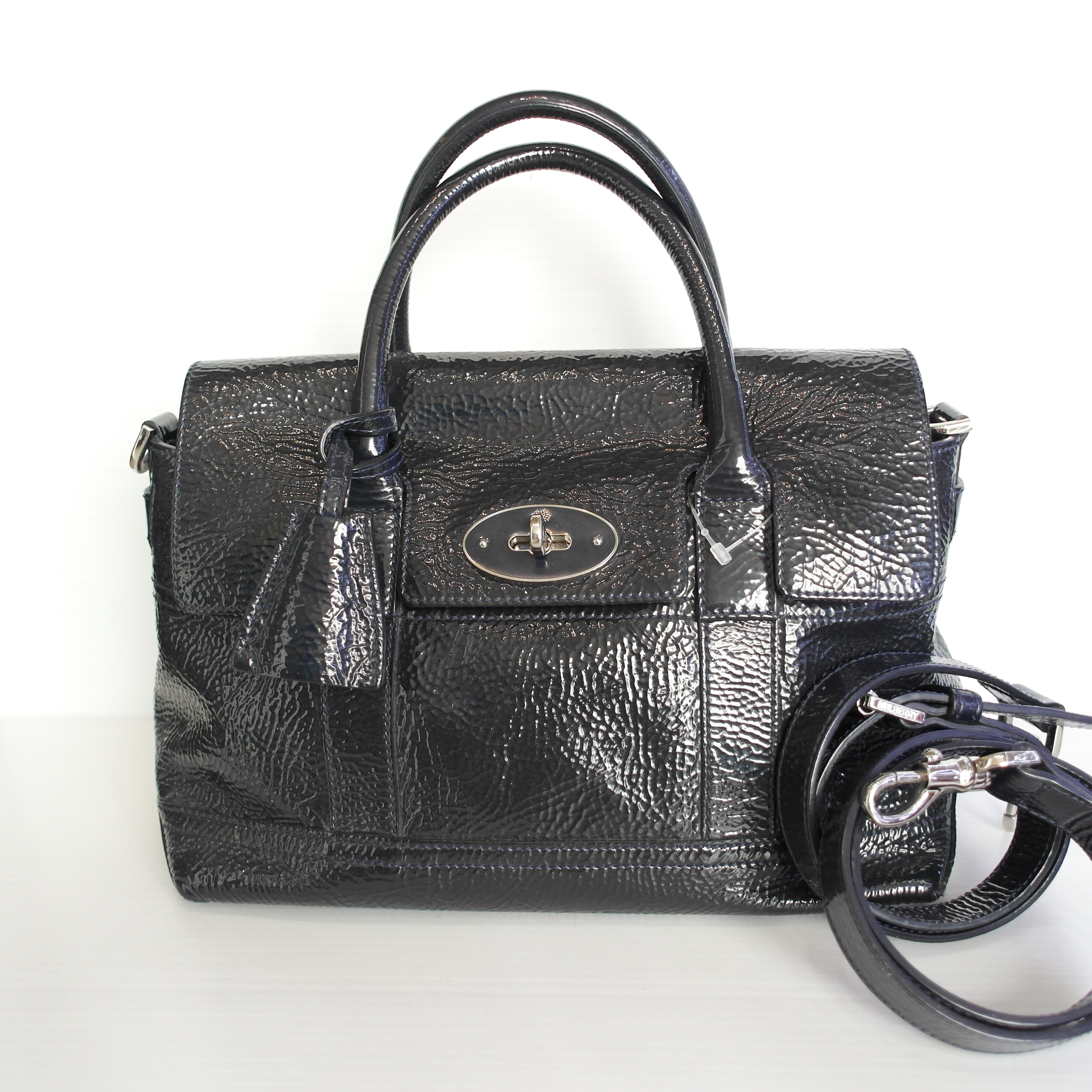 (SOLDOUT)MULBERRY Holiday Small Bayswater Satchel Midnight Blue Spongy Patent