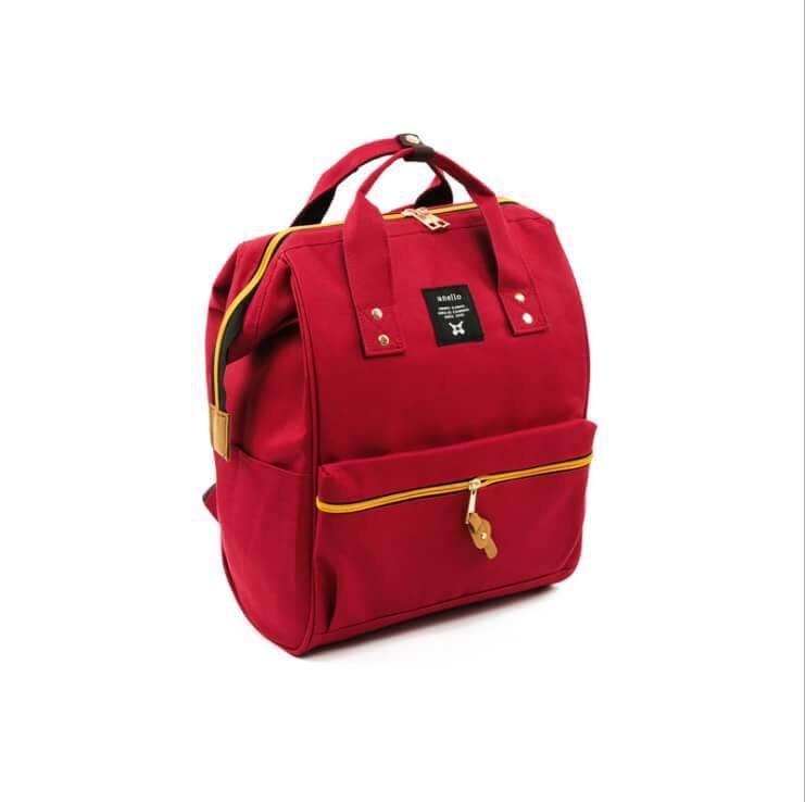 กระเป๋าเป้แฟชั่น สไตล์ anello สุดฮิต ขนาด ฐาน 10 นิ้ว สูง 14 นิ้ว มี 4 สี ขาว เขียว แดง แดงเข้ม
