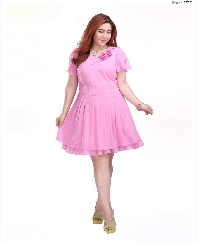 **พรีออเดอร์** ชุดเดรสสั้นแฟชั่นเกาหลีใหม่ มีดอกไม้ หวาน น่ารัก แขนสั้น เหมาะไปงานราตรี สำหรับผู้หญิงไซส์ใหญ่ /**Preorder** New Korean Fashion Sweet Floral Pattern Short Dress for Large Size Woman