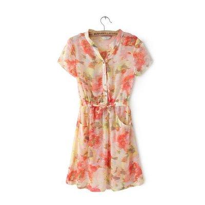 **พรีออเดอร์** ชุดเดรสผู้หญิงแฟชั่นยุโรปใหม่ แขนสั้นพิมพ์ลายดอกไม้ สีหวาน แบบเก๋ เท่ห์ / **Preorder** New European Fashion Floral Printed Short-Sleeved Dress