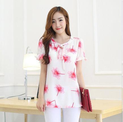 [พร้อมส่ง] เสื้้อแฟชั่นเกาหลีใหม่ แขนสั้น สำหรับผู้หญิงไซส์ใหญ่ 2XL - [In Stock] New Korean Fashion Shirt Short-Sleeved for Large Size Woman