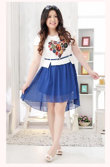 พรีออเดอร์ แฟชั่นเกาหลีใหม่ เสื้อพิมพ์ลาย กระโปรงผ้าชีฟอง แบบเก๋ น่ารัก สำหรับผู้หญิงไซส์ใหญ่ - Preorder New Korean Fashion Lovely Shirt with Chiffon Skirt for Large Size Woman