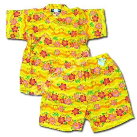 ชุดจิมเบอิ สีเหลือง ลายดอกกล้วยไม้ ยี่ห้อ ILE VILLAGE S95
