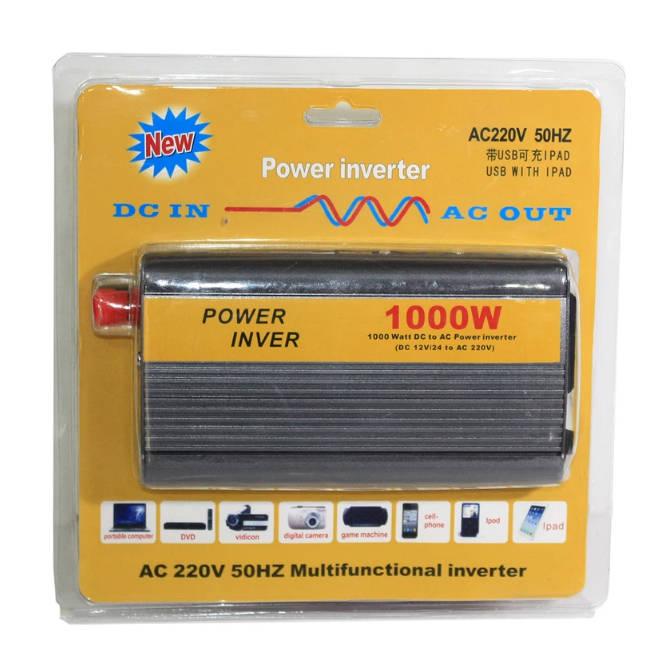 OEM Power Inverter ที่แปลงไฟรถเป็นไฟบ้าน เครื่องอินเวอร์เตอร์แปลงไฟ 12V DC เป็น 220V AC ขนาด 1000W