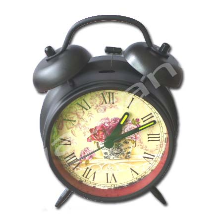 นาฬิกาปลุก สีดำ ลาย Vintage