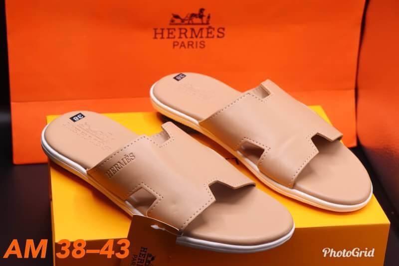 รองเท้าแตะแฟชั่น แบบสวม คาดหน้า H สไตล์แอร์เมสเรียบเก๋ แบบผู้ชาย หนังนิ่ม วัสดุอย่างดี ใส่สบาย แมทสวยได้ทุกชุด