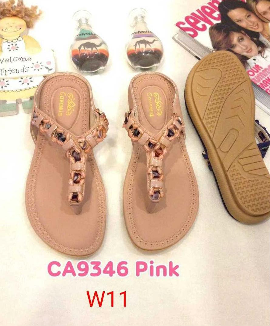 รองเท้าแตะแฟชั่น แบบหนีบ แต่งอะไหล่สวยหรู พื้นนิ่ม ใส่สบาย แมทสวยได้ทุกชุด (CA9346)